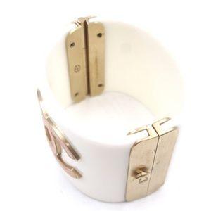 CHANEL Jewelry - White Resin Pink Gingham Fabric Cc Logo Bangle